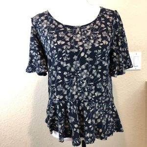 Lucky Brand Top Blue Floral Fit Flare Medium Casua